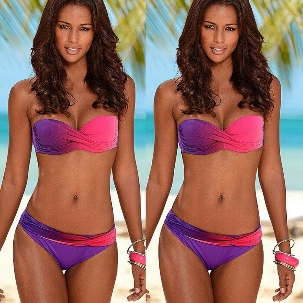 Brand New Women Patchwork Gradient Color Swimwear Bandage Bra Thong Two-Piece Suits Push-up Padded Bathing Swimsuit