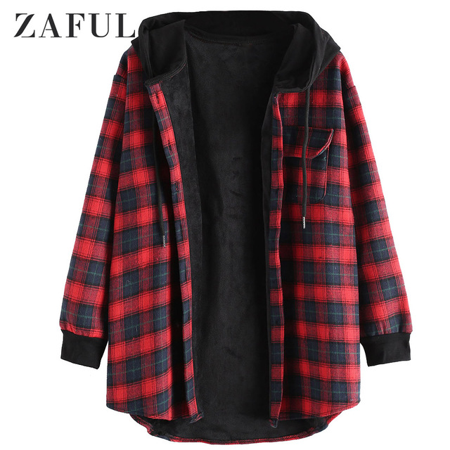 Zaful Women Winter Coats Plaid On, Red Check Winter Coat