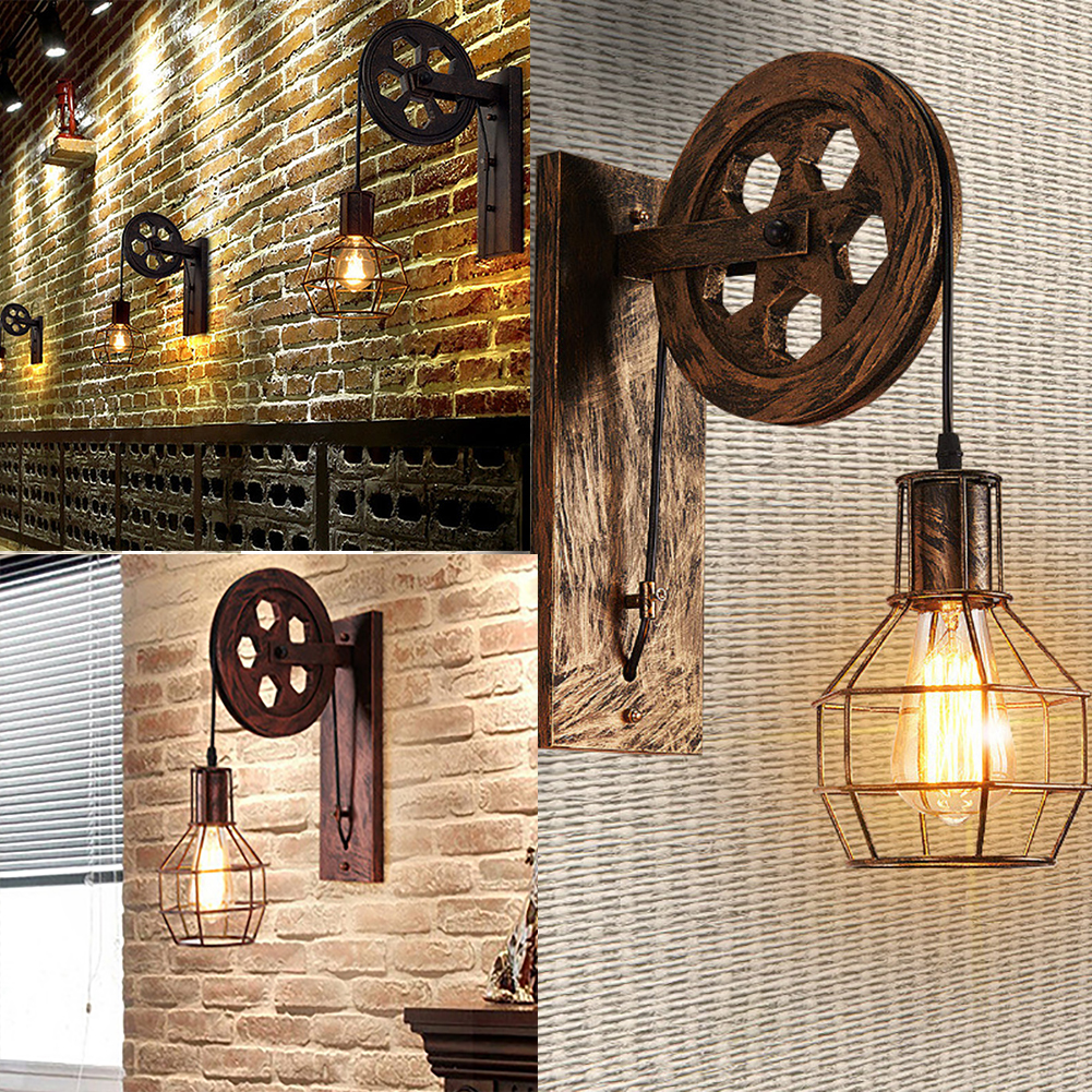 E27 Wall Lamp Lifting Pulley Home Corridor Living Room Restaurant Rustic Iron Loft Cafe Adjustable Sconce Light Retro Industrial