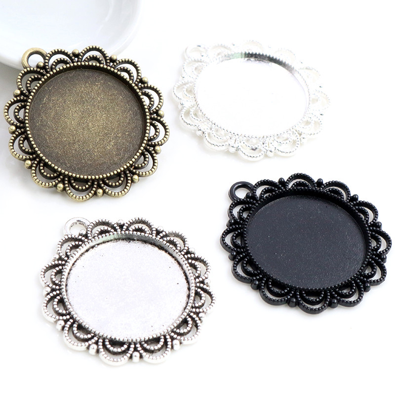New Fashion 5pcs 25mm Inner Size Black Antique Silver Plated Bronze Flower Simple Style Cabochon Base Setting Charms Pendant