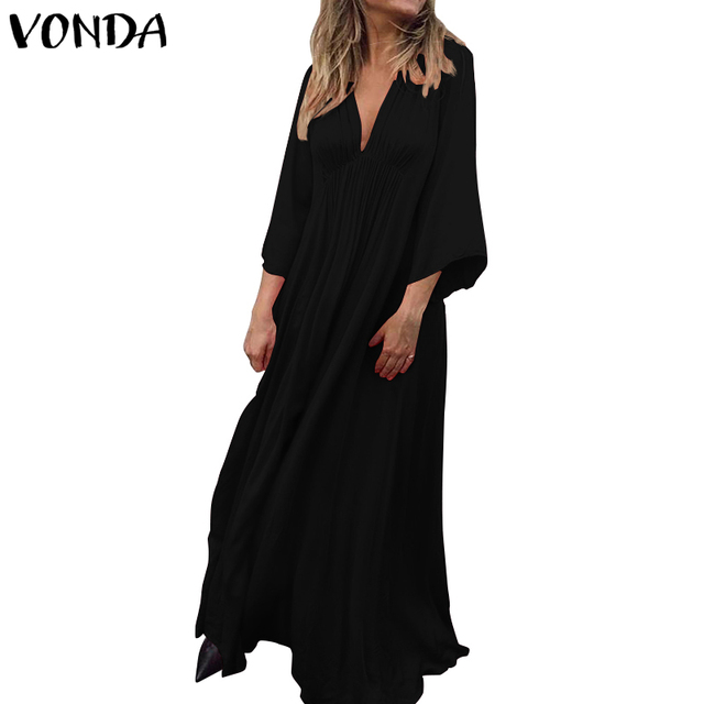 VONDA Summer Dress 2019 Sexy 3/4 Sleeve V Neck Solid Color Party Eveing Dresses Loose Bohemian Vestidos Plus Size Sundress S-5XL 3