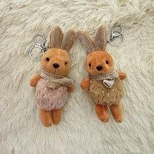 Stuffed Rabbit Key chain Cartoon Doll Animal chains Women Bag Car Pendant Children Christmas Gift Ring