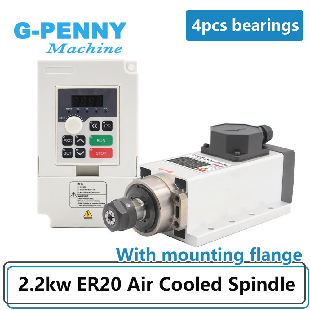 Новое поступление! Шпиндель с воздушным охлаждением, 0,01 КВТ, ER20, 4 подшипника, точность 220 мм, квадратный тип с фланцем, кВт, в, QL инвертор/VFD