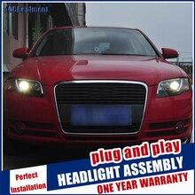 Faróis para audi a4 b7 2005 2008 led/xenon baixo feixe de alta luz de circulação diurna led sequencial turn signal 1 par