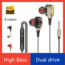 Wired earphone High bass dual drive stereo In-Ear Earphones With Microphone Computer earbuds For iphone ipad computer samsung joyroom 3 5mm wired earbuds earphones in ear for xiaomi samsung phone computer in ear sport earphones with microphone stereo