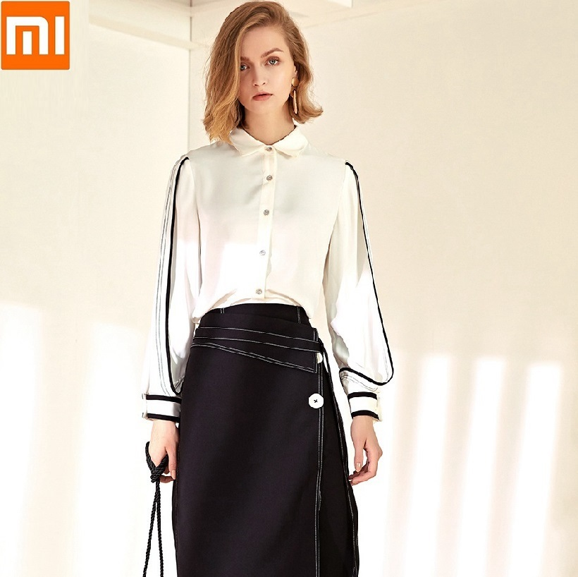 Xiaomi NEW Luxury Fashion Women Black White Blouses Tops Long Sleeve Casual Chiffon Blouse Female Office Shirts