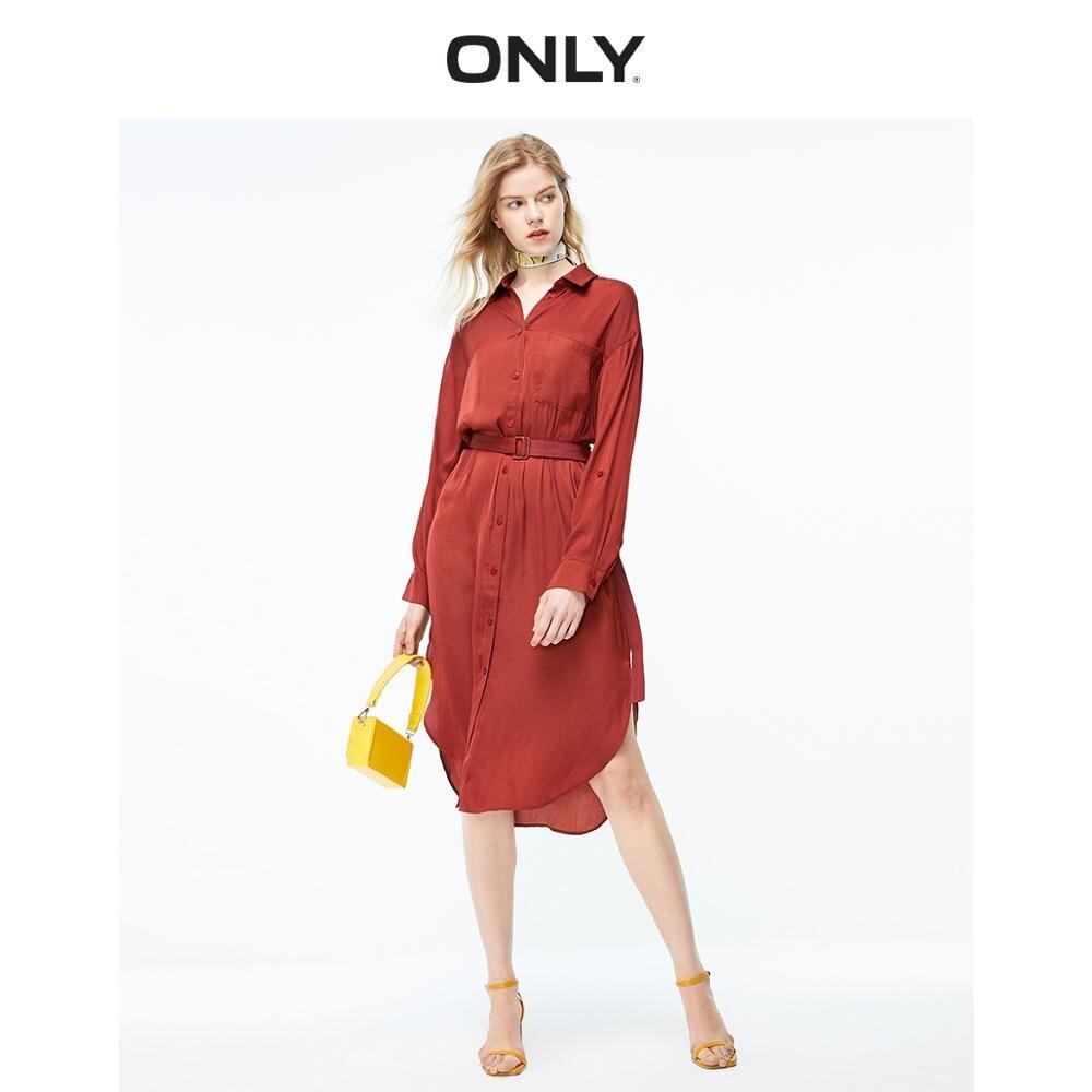 ONLY Women's Lace-up Waist Long-sleeved Shirt Dress | 119207532