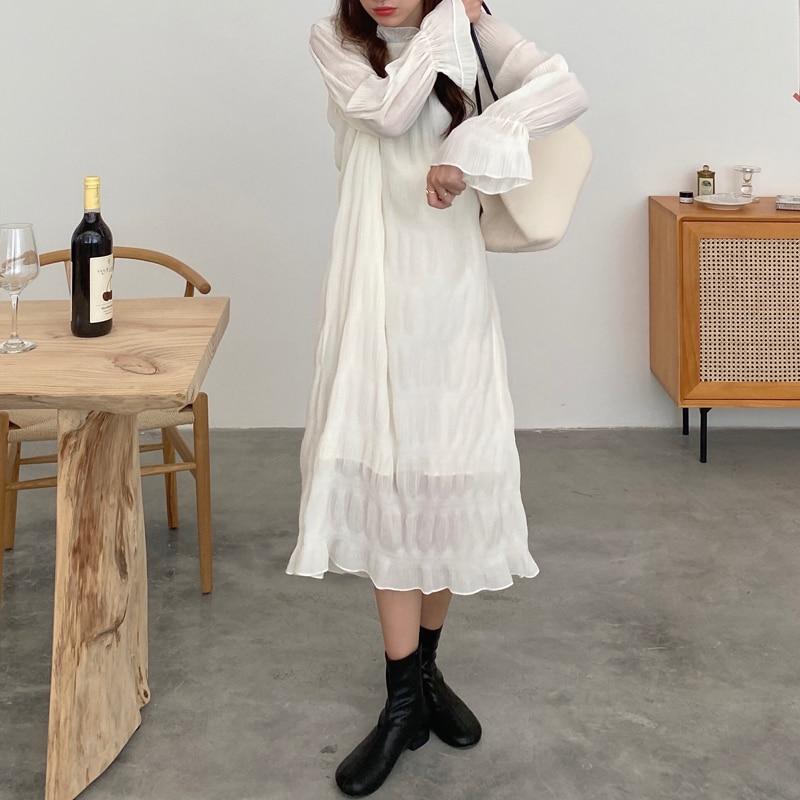 H693146f6a51542b4a97b74fe5de95c5ar - Autumn Korean O-Neck Flare Long Sleeves Chiffon Pleated Midi Dress