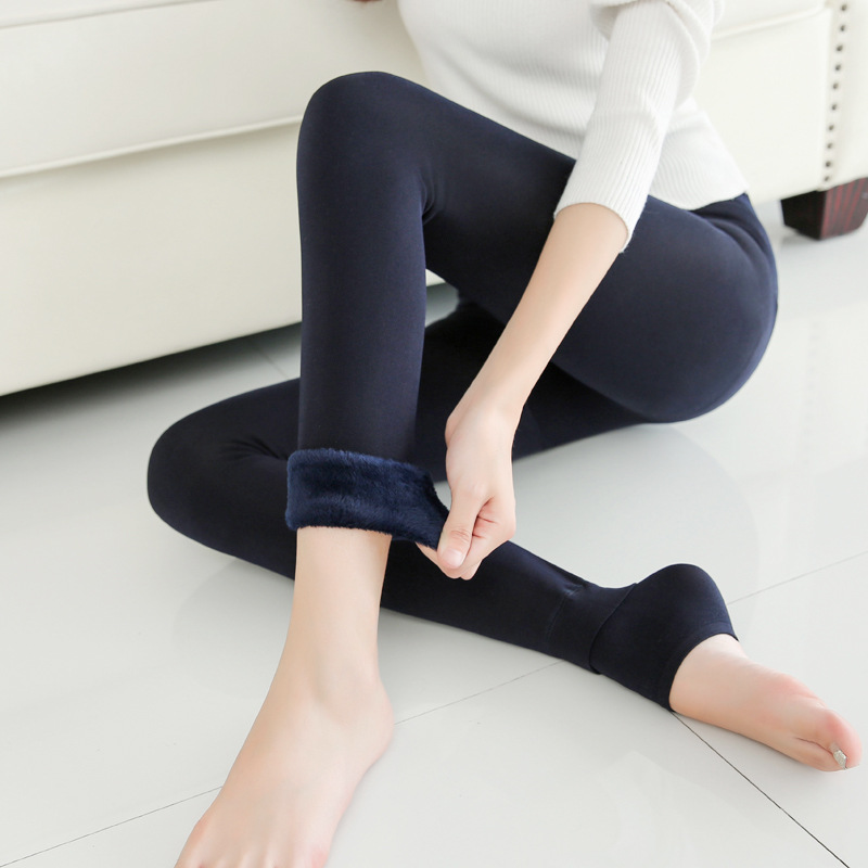 Women's Winter Plus Velvet Thickening Pearl Velvet   Leggings   Women New Fashion Warm Casual Wild Stepping   Legging