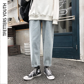 TFETTERS Korean Style Mens Jeans Brand Washed Men Tide Brand Loose Mid Straight Retro Blue Denim Trousers Streetwear Pants simwood brand 2016 men s jeans straight fit denim trousers famous brand pants blue casual long pants jeans free shipping sj629