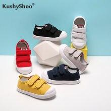 Kushyshoo buty dla dzieci moda 2021 nowy jednolity kolor Hook & Loop cały mecz trampki oddychające antypoślizgowe na co dzień buty sportowe z płótna