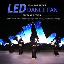Led 실크 팬 베일 벨리 댄스 팬 베일 실크 LED 라이트 쇼 화이트 블루 소품 액세서리 밸리 댄스 무대 공연