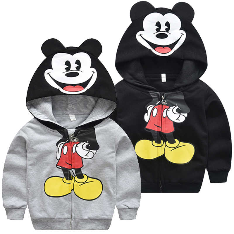 New Mickey Clothes 2019 Spring Autumn Baby Boys Hooded Sweatshirt Children Jackets Coats Kids Cartoon Mickey Cute Outerwear 1-5T