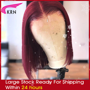 KRN Burgundy 99j 13x6 Lace front Human Hair Wig Remy Brazilian hair full straight bob wig shipping within 24 business hours 180%(China)