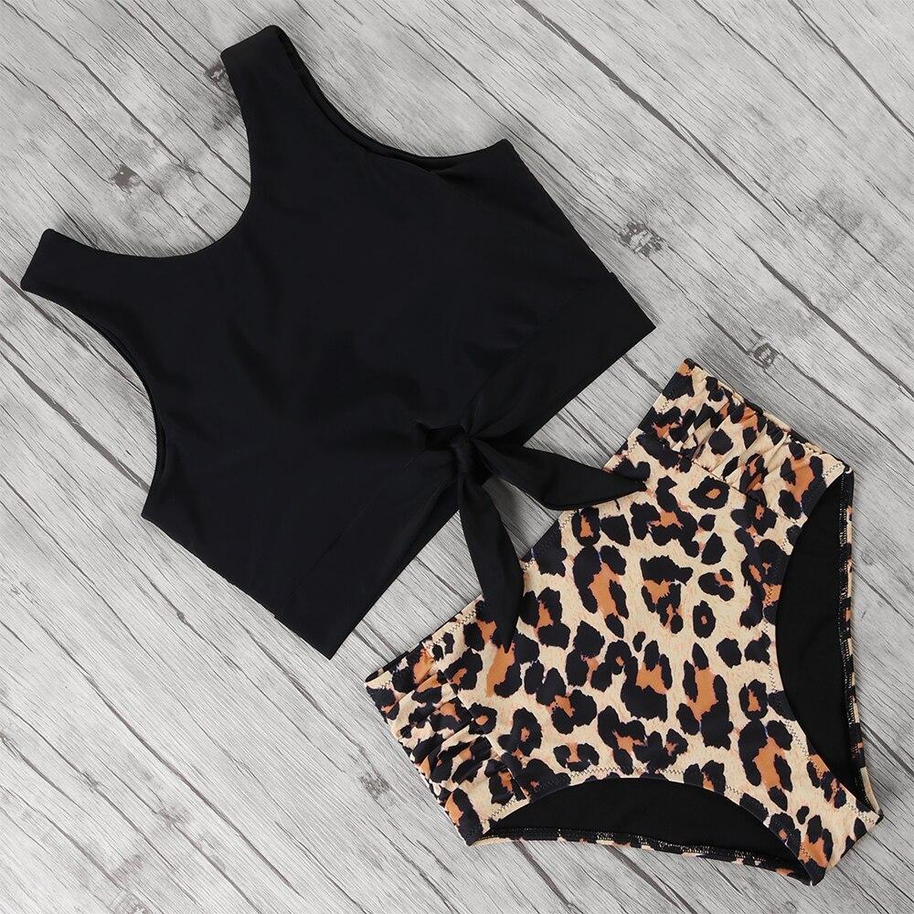 Leopard Bikini 2020 Floral Print Swimsuit Female Push Up Beachwear Biquini High Waist Bathing Suit  XL Plus Size Swimwear Women