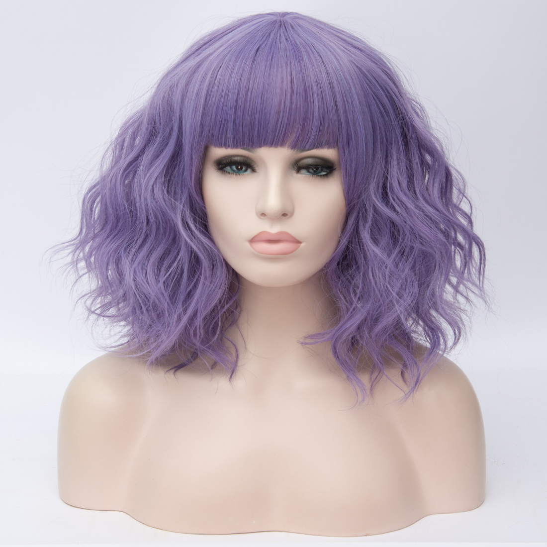 H6931aa872c0c40e7b046458b1c4f9eb5l - Similler Short Synthetic Wig for Women Cosplay Curly Hair Heat Resistance Ombre Color Blue Purple Pink Green Orange Two Tones