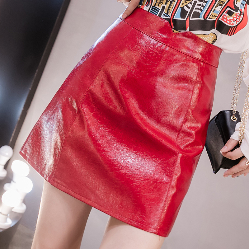 Autumn WOMEN'S Dress Small Leather Skirt Skirt 2019 Autumn Patent Leather Mirror Candy-Colored PU Leather INS Super Fire Small S