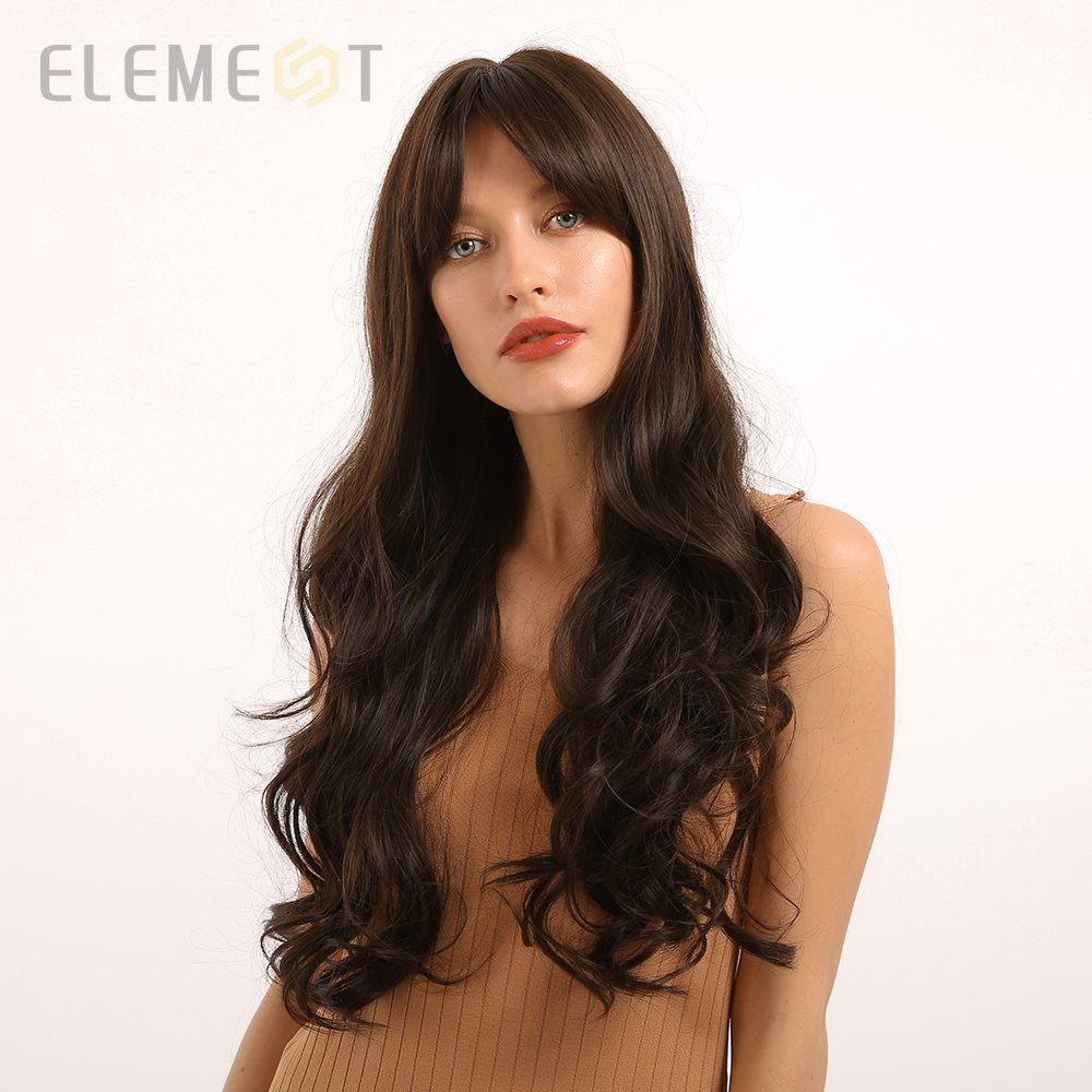Element Heat Resistant Fiber Synthetic Long Wavy Ombre Brown Wigs With Bangs Cosplay Party Wigs For White/Black Women