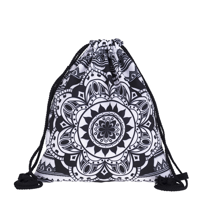 New Fashion Women MANDALA BLACK Drawstring Backpack 3D Printing Travel Softback Women Mochila Drawstring Bags Bundle Pocket Rope