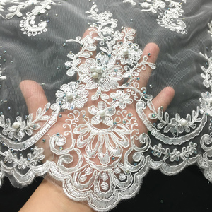 Image 3 - Off White Beaded Lace Fabrics African Lace Fabric 2020 High Quality Lace With Stones, French Nigerian Lace Fabrics for Wedding