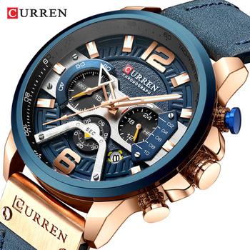 CURREN Casual zegarki sportowe dla mężczyzn niebieski Top marka luksusowe wojskowy skórzany zegarek na rękę mężczyzna zegar moda zegarek chronograf tanie i dobre opinie QUARTZ 3Bar Klamra Stop Hardlex Nie pakiet Skórzane C-8329 ROUND Odporny na wstrząsy Odporne na wodę Chronograph Kompletna kalendarz