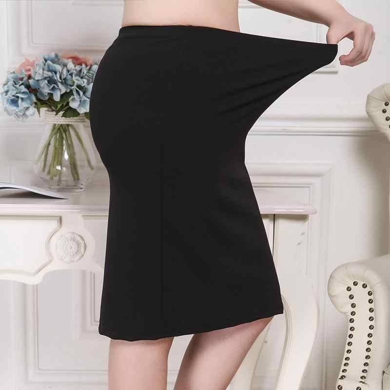 XL-8XLプラスサイズの女性の夏黒スカートカジュアル大型オフィスレディーススカート段faldas 6XL 7XLストレッチol作業スカート衣類