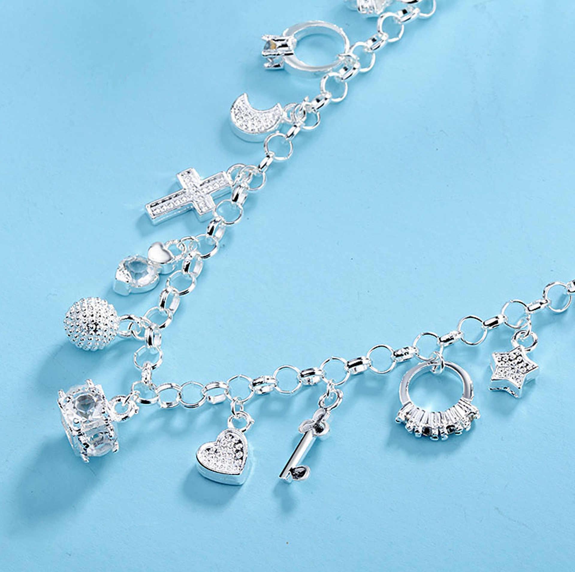 Gümüş avrupa ve amerikan kore moda 13 adet kolye çift bilezik femme kadınlar için
