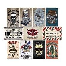 Cartel de Metal Vintage Barbershop para Barbero, cartel para cafetería, Bar, Pub, platos decorativos Retro para pared, decoración del hogar, 20*30 cm