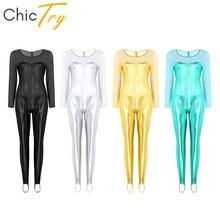 ChicTry Adult Shiny Metallic Long Sleeve One piece Ballet Gymnastics Leotard Women Bodysuit Catsuit Gym Unitards Dance Costume