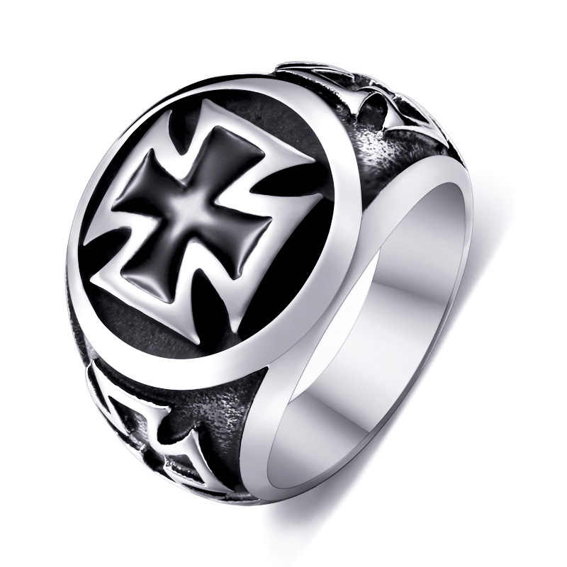 One Piece Sale Titanium Man 316L Stainless Steel Unique Fashion Male's Cross Ring For Boy BR8-073