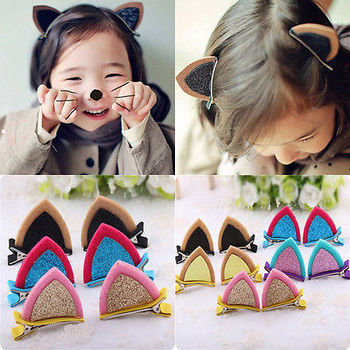 Newest Cat Ears Hair Clip 1pc Lovely Fashion Kids Baby Grils Sequins Cuteful Barrettes Hair Wear Dress Barrette Hairpin headwear image