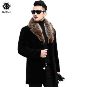 RUELK Woolen Coat Autumn Winter Single-Breasted Men's New And Thickened Medium-Length