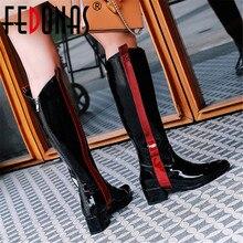 FEDONAS Botas Longas Quentes Night Club Shoes Mulher 2020 Outono Inverno Vaca Couro de Patente Das Mulheres Na Altura Do Joelho Botas De Cano Alto Com Zíper de Alta saltos