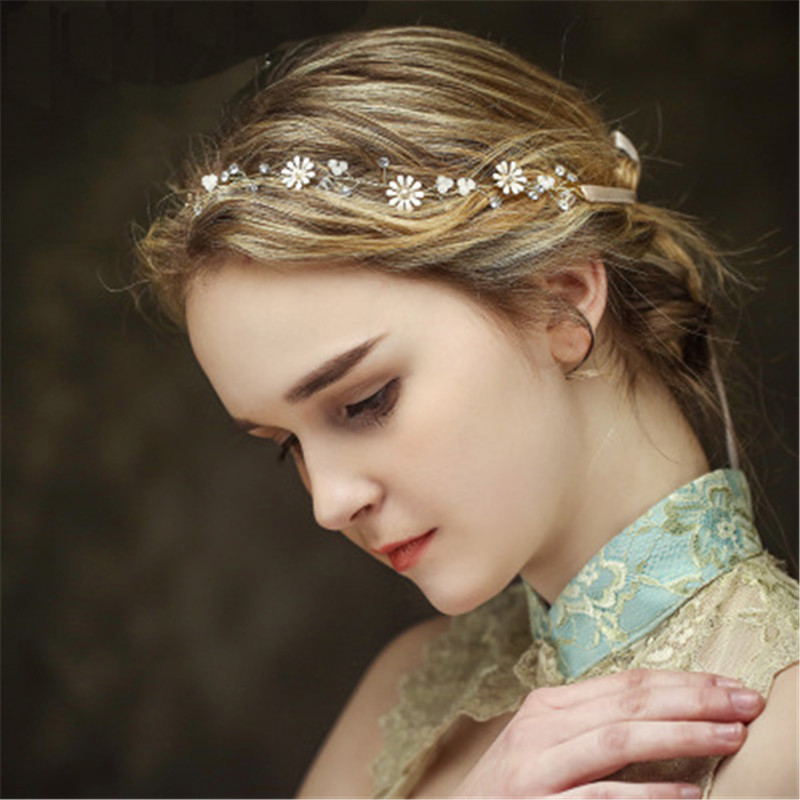 Flower Wedding Headband For Bride Handmade Bridal Hair Band Wedding Bridal Jewelry Accessories Party Headpiece for Bride Women