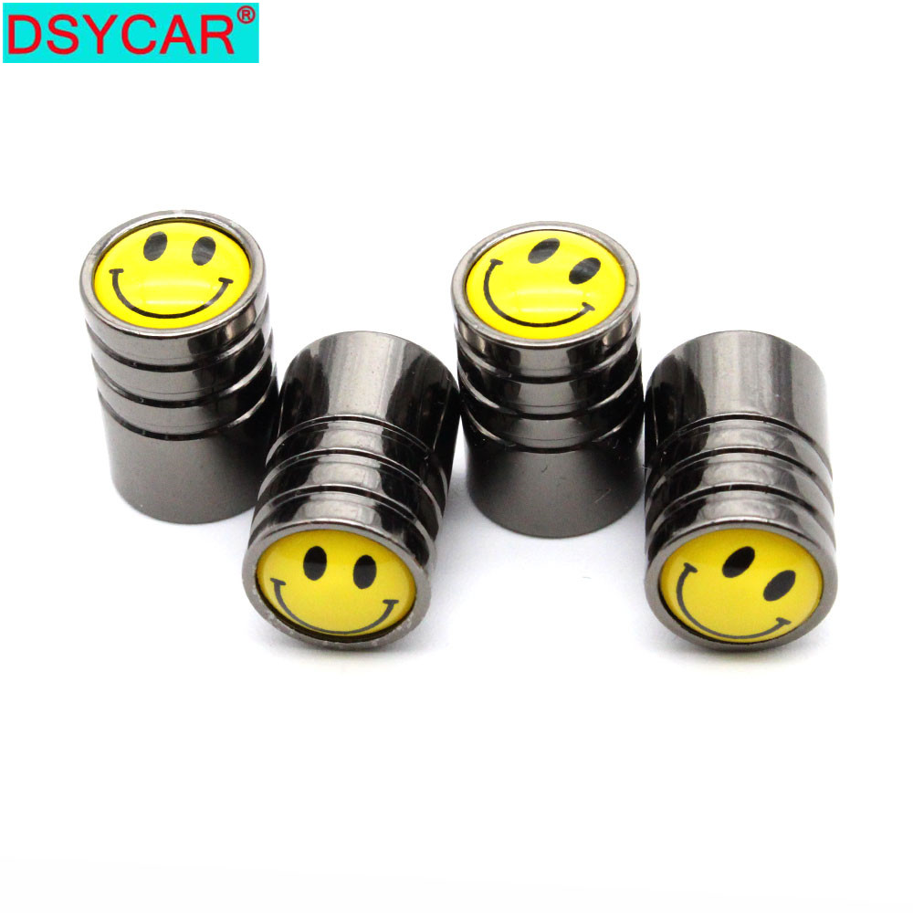 DSYCAR 4 Pcs/Set Car Styling Copper Smiling Face Logo Car Tire Valve Caps Wheel Tires Tire Stem Air Cap Airtight Covers