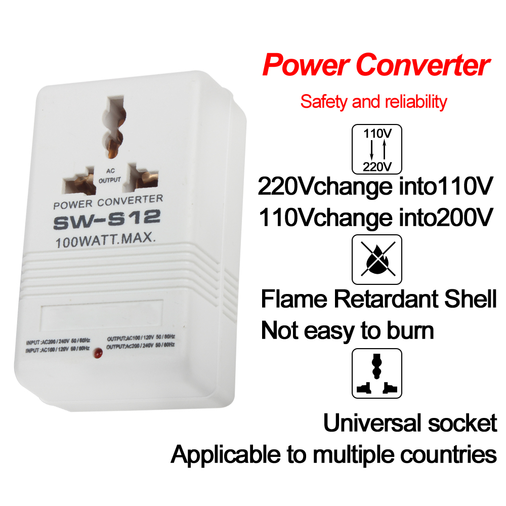SW-S12 100W 110 V/120 V zu 220 V/240 V Konverter Transformator EU UK us-stecker <font><b>adapter</b></font> image