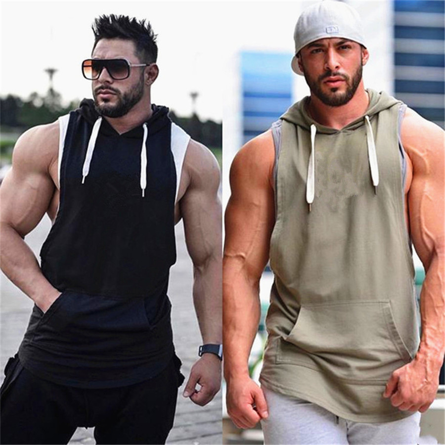 Fashionable Men's Hooded Vest Jackets Summer Bodybuilding Gyms Lightweight Sleeveless Contrast Hoodie Tank Tops Male Clothing