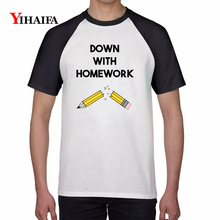 Summer New 3D Print T Shirts Homework Letters Pencil Graphic Tees Mens Womens White Cotton T-Shirt Unisex Casual Tops