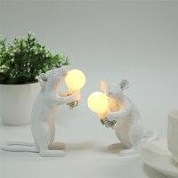 Diseñador de ratón de resina de luz de la noche de escritorio decoración de dibujos animados LED lámpara de Animal niños habitación lámparas de ratón regalo mesa de luz
