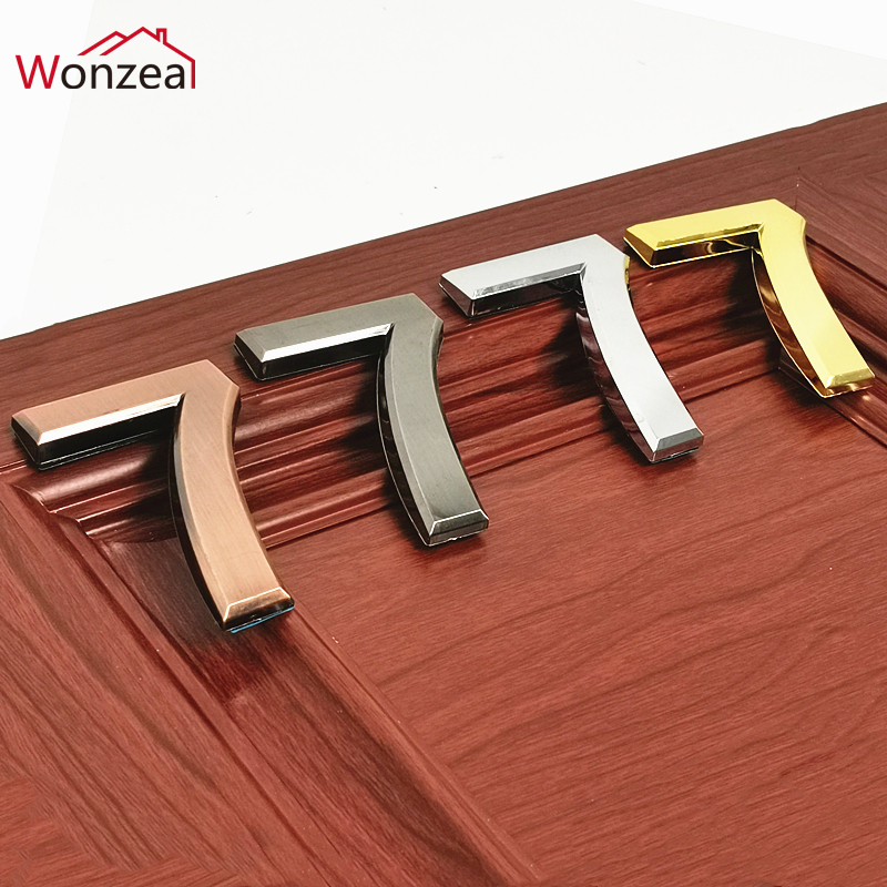Height 70mm Silver/Golden/Bronze/Gray ABS Plastic Self- Adhesive House Door Numbers Address Sign Hotel Home Door Plate Sticker(China)