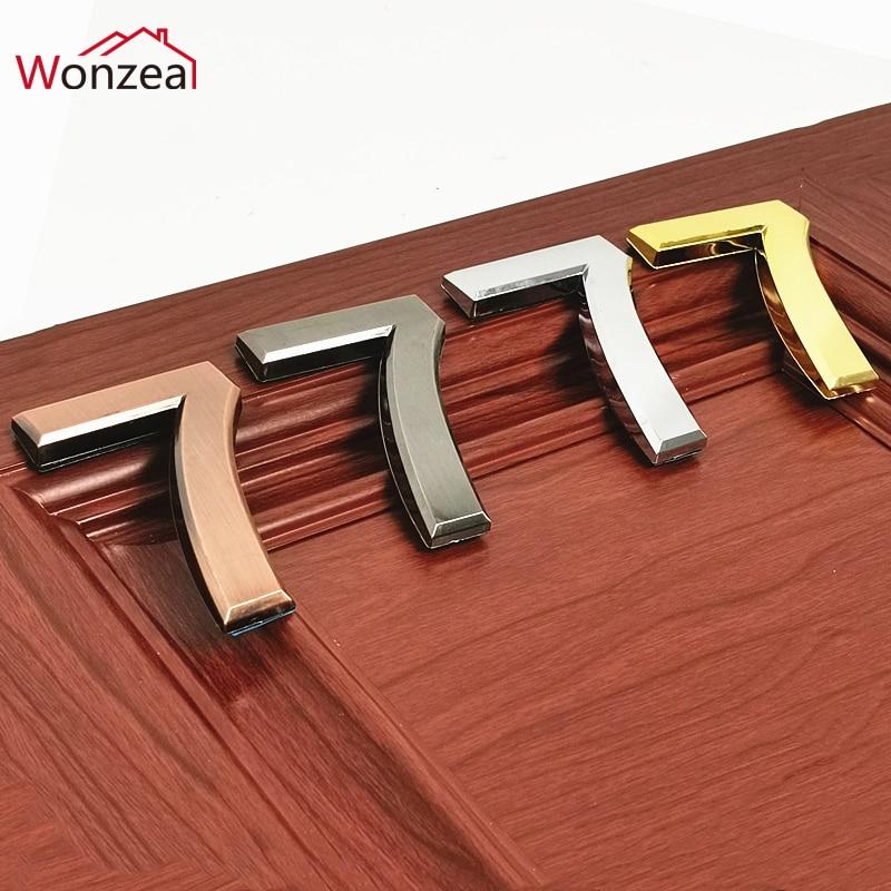 Height 70mm Silver/Golden/Bronze/Gray ABS Plastic Self- Adhesive House Door Numbers Address Sign Hotel Home Door Plate Sticker(China)