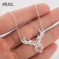 Ожерелье с подвеской в виде рогов оленя, из нержавеющей стали
