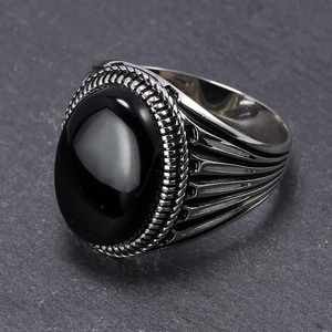 Image 2 - Real Pure 925 Sterling Silver Turkish Rings For Men Hollow Retro Rings With Stones Black Red Onyx Original Color Anelli Uomo