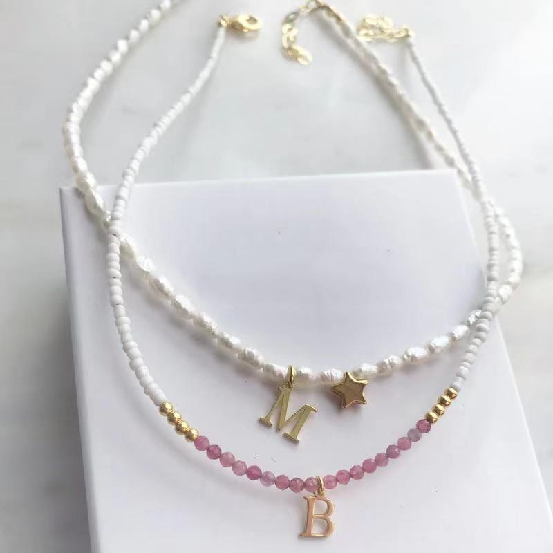 Collana con lettera in acciaio inossidabile personalizzata collana da donna con perle dacqua dolce naturale accessori a stella a cinque punte gioielli boutique