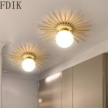 Luces de techo de Metal dorado nórdico lámpara de techo de cristal con forma de sol moderna para pasillo de dormitorio accesorio de iluminación de decoración Vintage interior