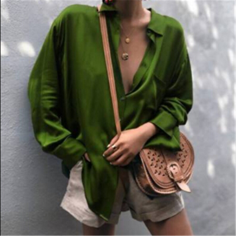 Women Sexy Deep V-neck Satin Blouse Tops Loose Long Sleeve Office Ladies Shirt Casual Solid Silk Female Spring Shirt