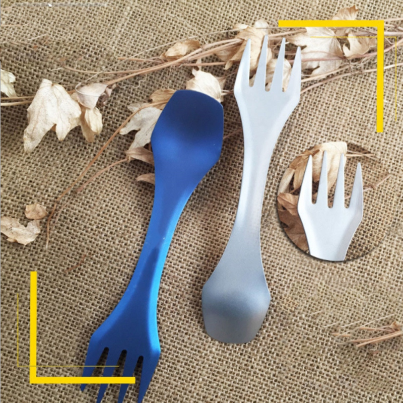 Outdoor 3-in-1 Titanium Spork Flatware For Outdoor Camping  Hiking Picnic Tableware Accessories