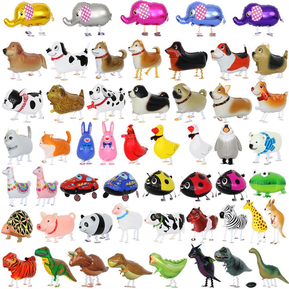 10 шт./лот, Микс, ходячие воздушные шары с гелием для животных, милая собака, панда, динозавр, тигр, воздушный шар для домашних животных на день ...