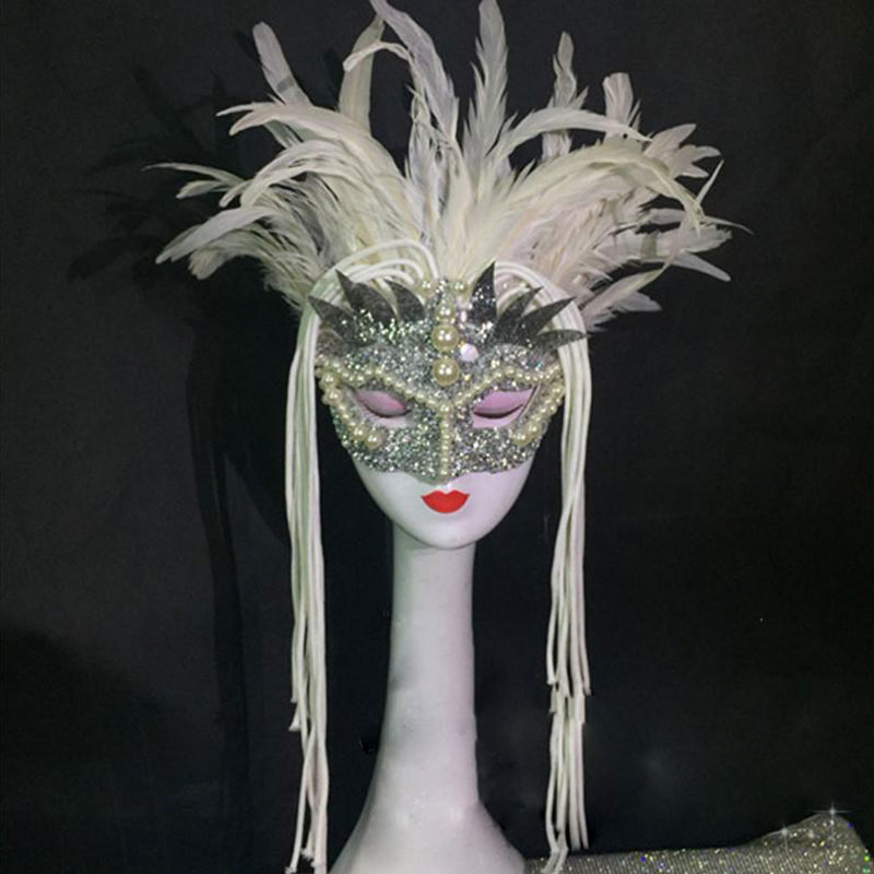 stage wear headdress mask white natural feather performance stage costume headdress high-end masquerade pearl mask