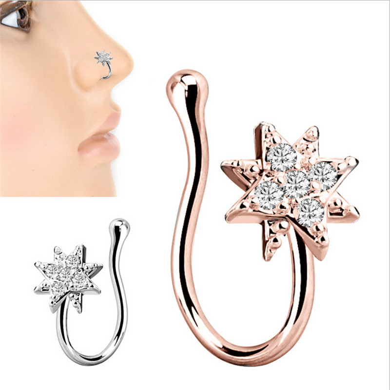 Crystal Nose Rings /& Studs for Women Non Piercing Silver U Shape Chain Earrings Fake Nose Septum Piercing Body Jewelry